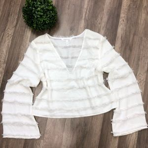 BCBG Generation White Long Sleeve Blouse